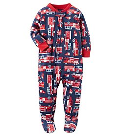 Carter's Baby Boys' 12M-24M One Piece Firetruck Fleece PJs