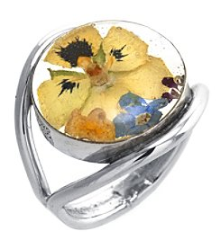 Athra Sterling Silver Dried Flower Ring