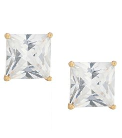 Athra Gold over Sterling Silver Cubic Zirconia Earrings