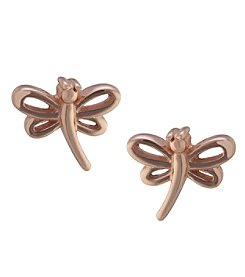Athra Gold over Sterling Silver Dragonfly Stud Earrings