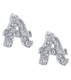 Athra Sterling Silver Letter A Earrings
