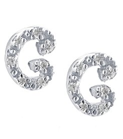 Athra Sterling Silver Letter C Earrings