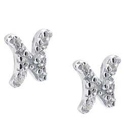 Athra Sterling Silver Letter N Earrings