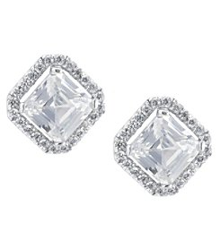 Athra Sterling Silver Princess Cut Cubic Zirconia Earrings