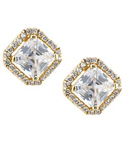 Athra Gold over Sterling Silver Princess Cut Cubic Zirconia Earrings