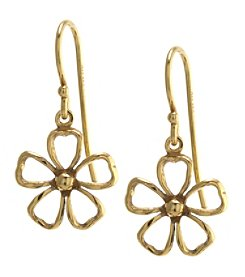 Athra Gold over Sterling Silver Flower Drop Earrings
