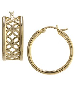 Athra Gold over Sterling Silver Filigree Hoop Earrings