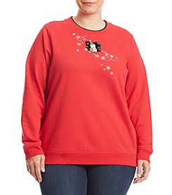 Breckenridge® Plus Size Merry Snowman Patch Sweatshirt