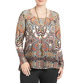 Oneworld® Plus Size Printed Necklace Top