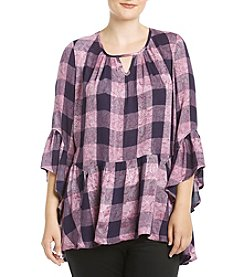 Oneworld® Plus Size Plaid Printed Woven Top