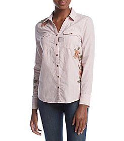 Nine West Jeans Mindy Western Striped Embroidered Shirt