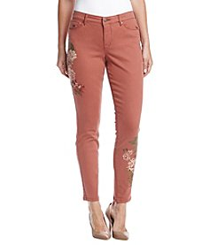 Nine West Skinny Bloom Embroidered Jeans