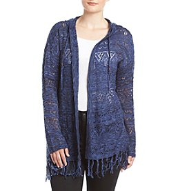 Love Always Plus Size Hood Fringe Hem Cardigan