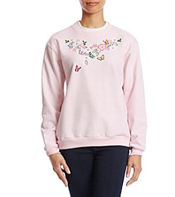 Morning Sun Petites' Butterfly Corsage Sweatshirt