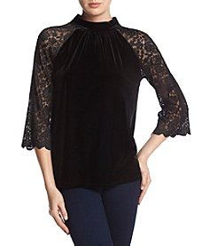 Ruff Hewn GREY Lace Sleeve Velvet Top