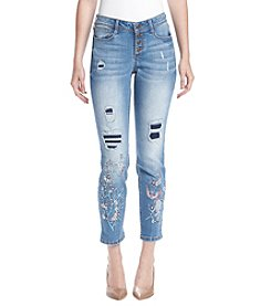 Black Daisy Jamie Best Friend Floral Embroidered Distressed Ankle Jeans