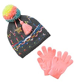 Miss Attitude Girls 4-6X Multi Space Dye Beanie With Pom