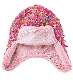 Miss Attitude Girls' 7-16 Multi Trapper Hat With Faux Fur Trim