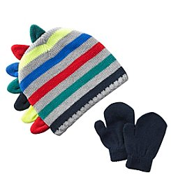Statements Boys' 2T-4T Multi Stripe Dino Hat And Mittens Set