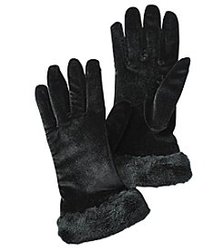 Cejon Solid Velvet Faux Fur Cuff Gloves