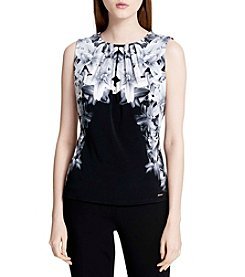 Calvin Klein Floral Cami With Pleated Neck