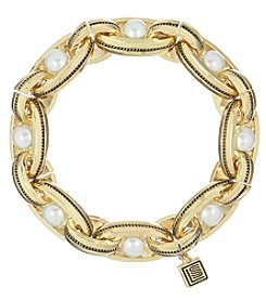 Laundry® Goldtone Etched Simulated Pearl Stretch Link Bracelet