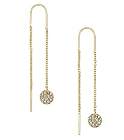 Laundry® Goldtone Pave Disc Drop Earrings
