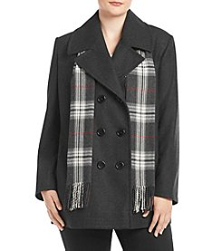 Forecaster Plus Size Notch Collar Scarf Coat
