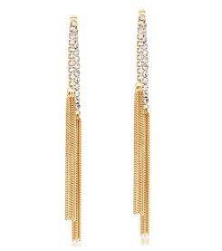 GUESS Goldtone and Crystal Strand Drop Earrings