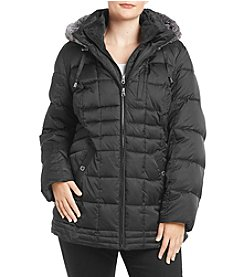 Nautica Plus Size Faux Fur Hood Quilted Puffer Coat