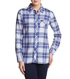 Le Tigre Brushed Flannel Plaid Top