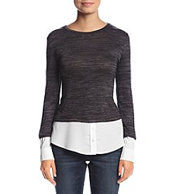 Calvin Klein Marled Mixed Media Sweater