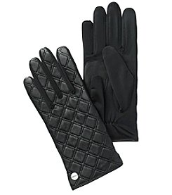 Calvin Klein Quilted Leather And Knit Gloves