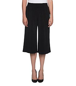 Joan Vass Smocked Waist Wide Leg Crop Pants