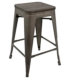 LumiSource® Set of 2 Oregon Industrial Stackable Counter Stools