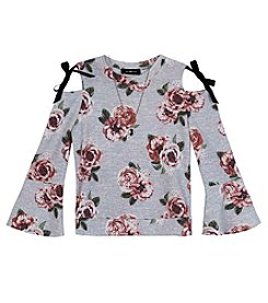 A. Byer Girls' 7-16 Long Sleeve Floral Cold Shoulder Top