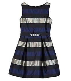 A. Byer Girls' 7-16 Striped Pleated Dress
