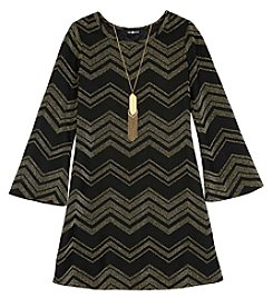 A. Byer Girls' 7-16 Chevron Metallic Dress