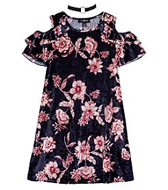A. Byer Girls' 7-16 Cold Shoulder Velvet Dress With Choker