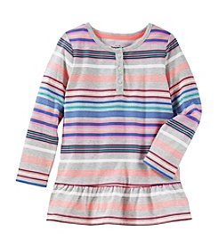 OshKosh B'Gosh® Girls' 2T-4T Long Sleeve Peplum Henley Top