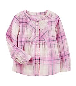 OshKosh B'Gosh® Girls' 4-8 Long Sleeve Flannel Buttonfront Top