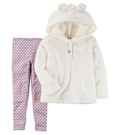 Carter's Girls' 2T-8 Faux Sherpa Hoodie And Leggings Set