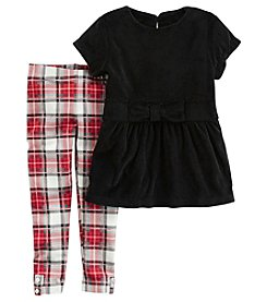 Carter's Girls' 3M-8 2 Piece Velour Top With Plaid Pants Set