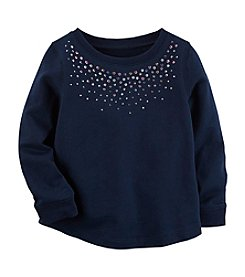Carter's Girls' 4-8 Sparkle Neck Long Sleeve Top