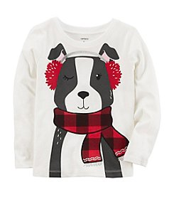 Carter's Girls' 12M-8 Long Sleeve Dog With Scarf Top