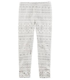 Carter's Girls' 12M-8 Snowflake Pattern Fleece Leggings
