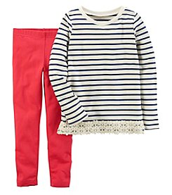 Carter's Girls' 4-8 Stripe Lace Top and Leggings Set