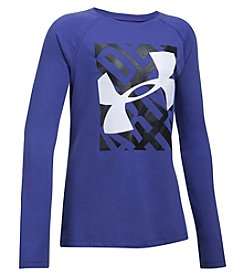 Under Armour Girls' 7-16 Long Sleeve Blocked Big Logo Tee