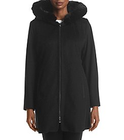 Forecaster Plus Size Front Zip Faux Fur Trim Coat