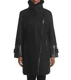 Via Spiga® Plus Size Faux Fur Asymmetrical Zip Coat